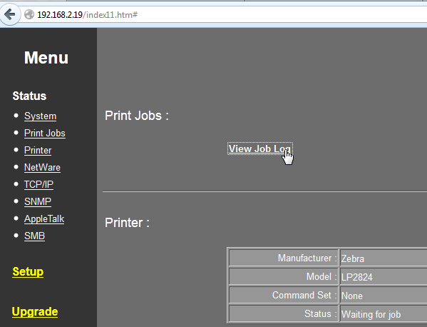 Printing to Zebra LP 2824 USB Printer over Internet from